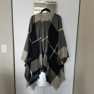 Jackets & Blazers - Plaid Poncho Blanket Cape